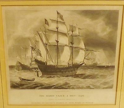 """Galleon  """"The Harry Grace A Dieu"""" 1520, Framed Print of Engraving"""