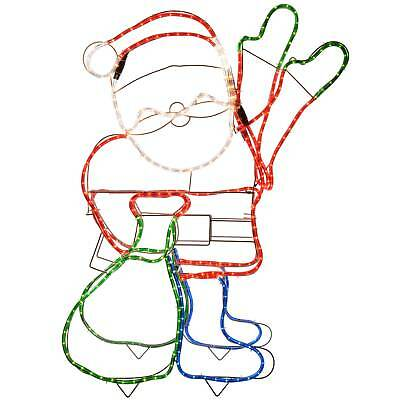 Large Animated Santa Rope Lights Silhouette Outdoor Wall Christmas Decoration
