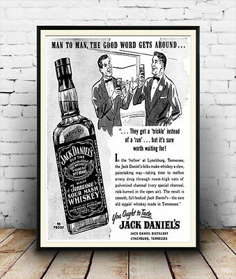 Jack Daniels , Vintage Alcohol advertising Reproduction poster, Wall art.