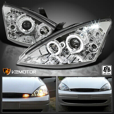 2000-2004 Ford Focus LED Halo Projector Headlights Chrome Pair