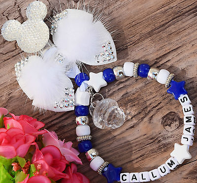 Personalised stunning pram charm in royal blue for baby boys ideal gift 2