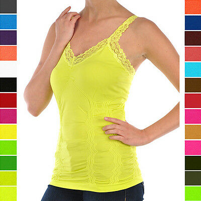Lace Cami Tank Top Wrinkled Camisole Sport Activewear