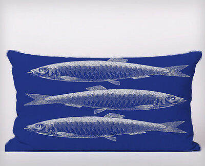 Fish Blue   Lumbar Long Cushion Covers Pillow Cases Home Decor or Inner