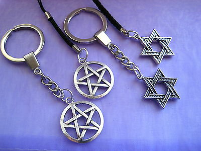 PICK YOUR PENTAGRAM Silver Star of David Keyring Keychain Mobile Phone