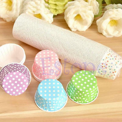 50Pcs Retro Vintage Polka Dot Paper Cupcake Muffin Cases Baking Cups New