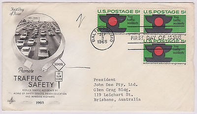 (USE68) 1965 USA FDC 5c 3block traffic safety used