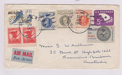 (USE69) 1967 USA 8mix of stamps on letter to Australia
