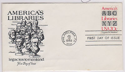 (USE73) 1982 USA FDC 20c America's Libraries used