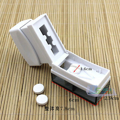 Tablet Pill Caplet Vitamin Splitter Cutter Half Quarter Compartment Storage Box