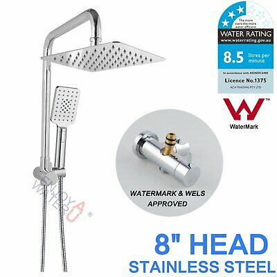 Chrome 2In1 8'' Square Double Shower Head Set Brass Sliding Rail MIXER TAP WELS