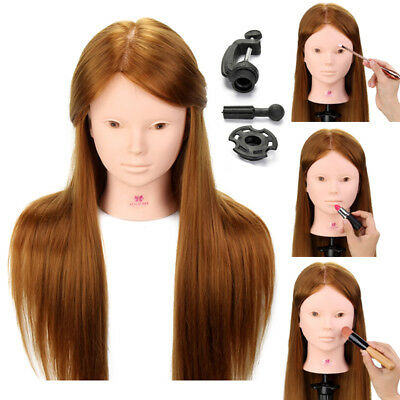 "24"" Hairdressing & Makeup Training Practice Head Mannequin Doll 70% Human Hair"