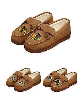 NHL Hockey Team Logo Warm Winter Mens Moccasin Slippers - Pick Your Team!