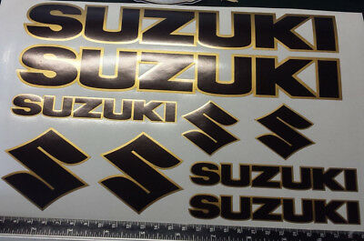 SUZUKI DECALS/ STICKERS BLACK & GOLD see description for sizes, high quality