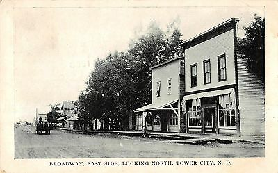 Tower City North Dakota looking north Broadway East Side antique pc (Y10292)
