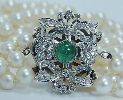 """Vintage Jewelry 18"""" Three Strands Pearl Necklace Emerald Diamond Clasp 18K Gold"""