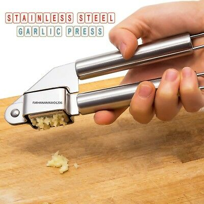 Stainless Steel Garlic Press Crusher Easy Self Cleaning Black Handle