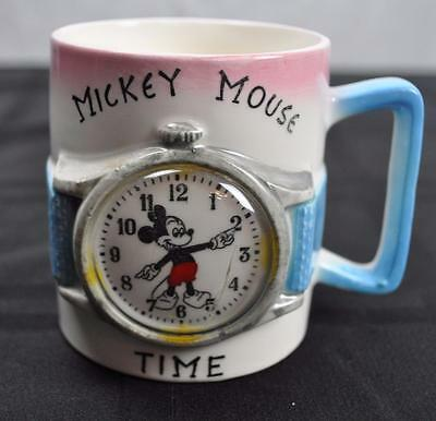 Vintage Walt Disney Mickey Mouse Watch Design Child's Ceramic Cup Mug