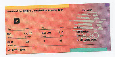 Orig.ticket    Olympic Games LOS ANGELES 1984 - EQUESTRIAN FINAL  !!!  VERY RARE
