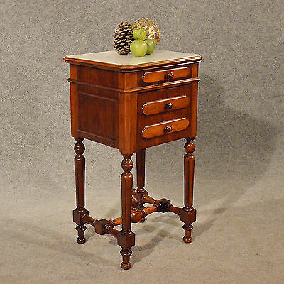 Antique Small Cabinet Side Table Bedside Cupboard Quality French Walnut c1900
