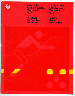 Official Results   Olympic Games MONTREAL 1976  -  MODERN PENTATHLON  !!  RARE