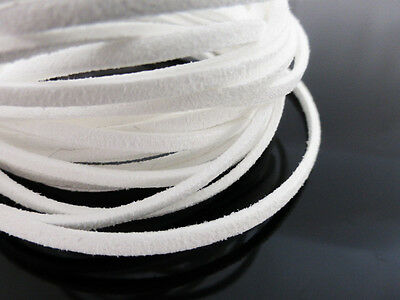 5m x 3mm White Faux Imitation Suede Cord Thong Lace Beading Necklace     (F5108)