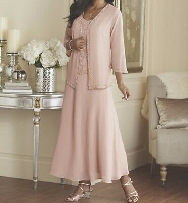 Mother of Bride Groom Wedding evening Prom Gown&Jacket formal dress plus XL1X 2X