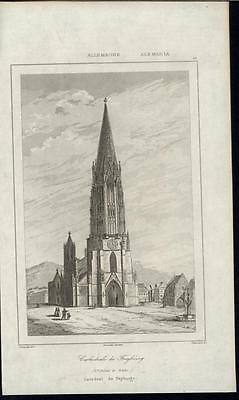 Freiburg Minster Magnificent Cathedral Germany 1838 antique engraved print
