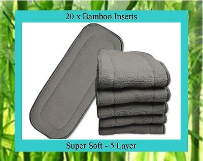 20 x Bamboo Charcoal Inserts / Boosters for Cloth Nappies - Approx. 33cm x 13cm