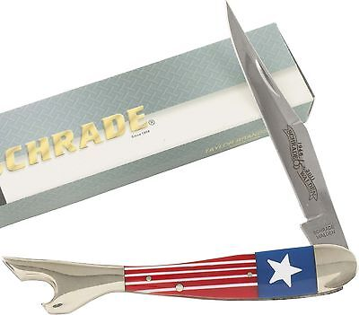 Schrade Large Leg Pocket Knife Red White Blue Stripes & Star Handles