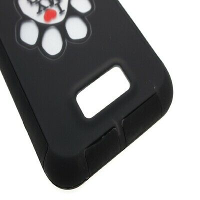TPU Inner Outer Cover Hybrid Case for BLU Studio 5.5 D610A - Silver Dog Paw