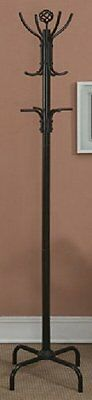 """Traditional Style Standing Coat Rack - 72""""H (Black Finish)"""