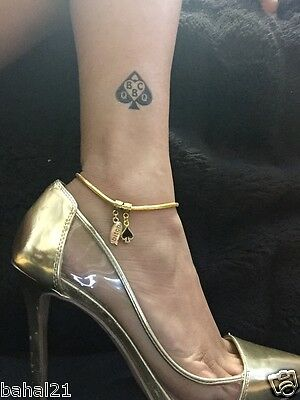 "Sexy Gold ""Bitch Spade"" Anklet Swinger Lifestyle BBC Jewelry Fetish Cuckold 03"