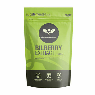 BILBERRY EXTRACT 1000mg CAPSULES, Eye care, ✔UK Made ✔Letterbox Friendly