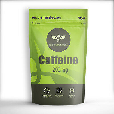 Caffeine 200mg TABLETS - ENERGY AND DIET PILLS, PRE WORKOUT *UK Made*
