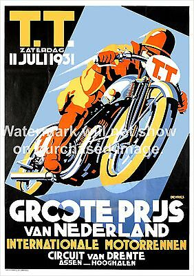 TT Racing , Vintage Dutch 1931 Advertising Reproduction poster, Wall art.