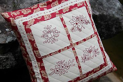 NEW Rose Red Cushion Pattern - Fabric  embroidery, quilting sewing Pattern