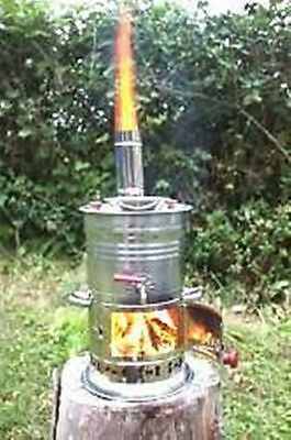 Chrome Charcoal Samovar Boat Camping Hiking Water Heater Bbq Tea Kettle