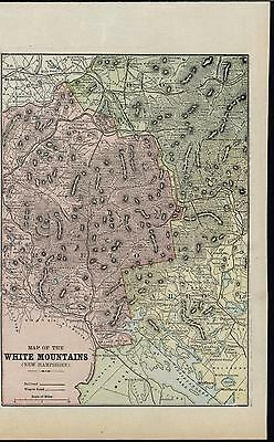 White Mountain New Hampshire Grafton County 1899 antique detailed color map
