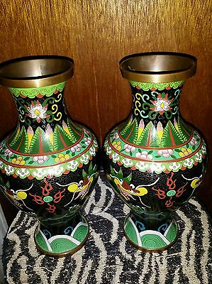 "Antuque Pair of Great Chinese Cloisoune Enamel Double Dragon Vases 10"" inch Tall"