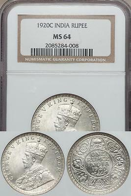 India, British India, 1920(c) Silver Rupee, George V - NGC MS64