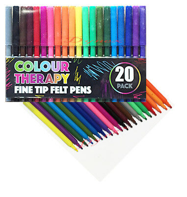 5a2007923 20 PACK FELT Tip Pens Drawing Markers Colouring Art School Colour Therapy -  £2.25 | PicClick UK
