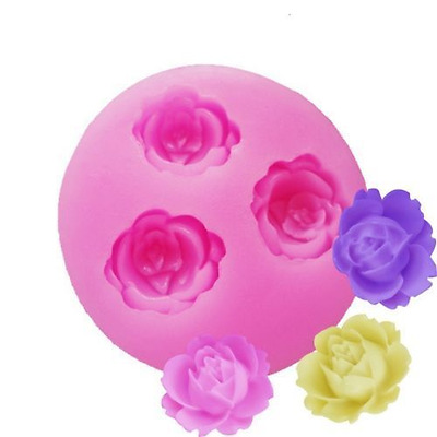 Rose Flower mini Silicone Baking Chocolate / Candy Mold - 3 Roses Cavity