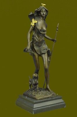 Vintage Cast Bronze Diana The Huntress W / Dog Fine Sculpture Art Statue Sale