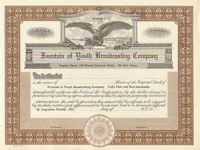 Fountain of Youth Broadcasting Company    19__ St Augustine Florida certificate