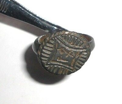Ancient Byzantine Empire, c. 8th - 10th AD. Bronze Ring, Radiate Cross