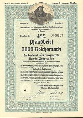 1941 Gdańsk Poland Danzig German bond certificate share