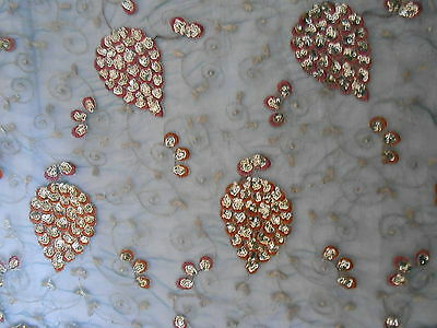 Antique Vintage Handbeaded Fabric Fragment Flower Embroidered Zari Sequin Work