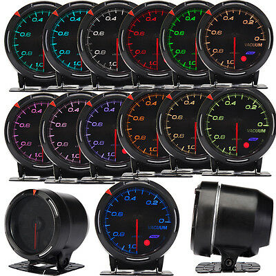 60mm 13-Color LED Digital Vacuum Pressure Gauge Meter Kit Universal Fit 12V Car