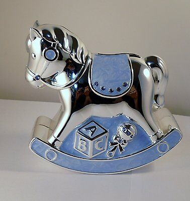 Christening Gift Silver Plated Blue Enamelled Rocking Horse Money Box