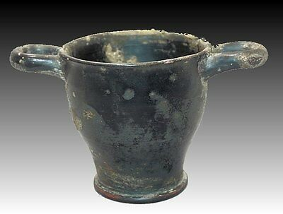 Ancient Apulian Pottery Skyphos Circa 4th Century BC.